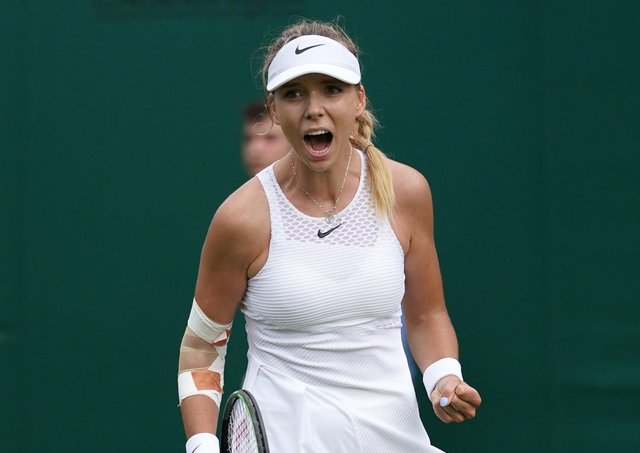 Battler: Katie Boulter celebrates after recovering from a set down to beat Danielle Lao. Picture: Adam Davy/PA Wire.