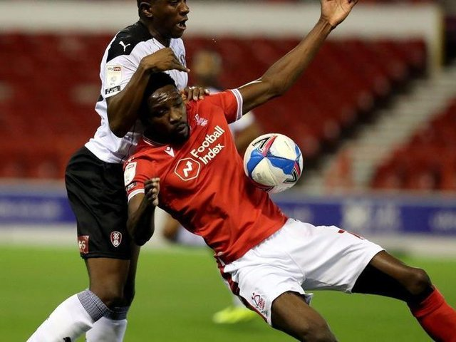New Middlesbrough FC signing Sammy Ameobi, pictured in action for Nottingham Forest against Rotherham United last season. Picture: PA.