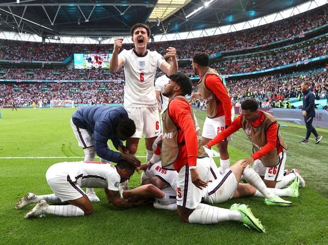 ECSTATIC: Harry Maguire celebrates England's second goal