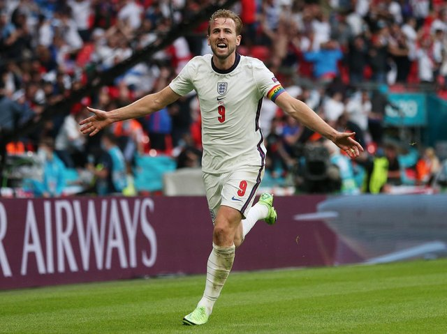 GOAL: Harry Kane wheels away after his goal
