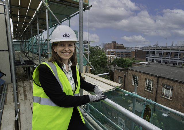 Sue Sparling, director at DLA Architecture, at Oak House, on Park Lane, Leeds.  The development is a six-storey student scheme in the form of townhouses. Picture: Giles Rocholl Photography.