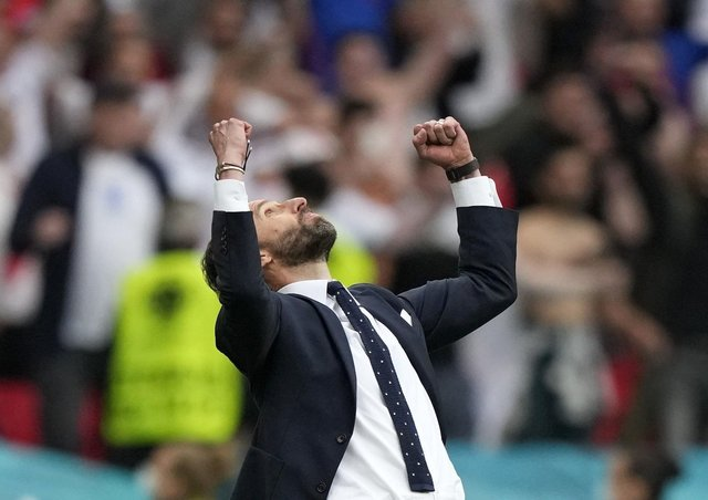 England manager Gareth Southgate reacts at the end of the Euro 2020 round of 16 match between England and Germany at Wembley. Picture: AP/Frank Augstein.