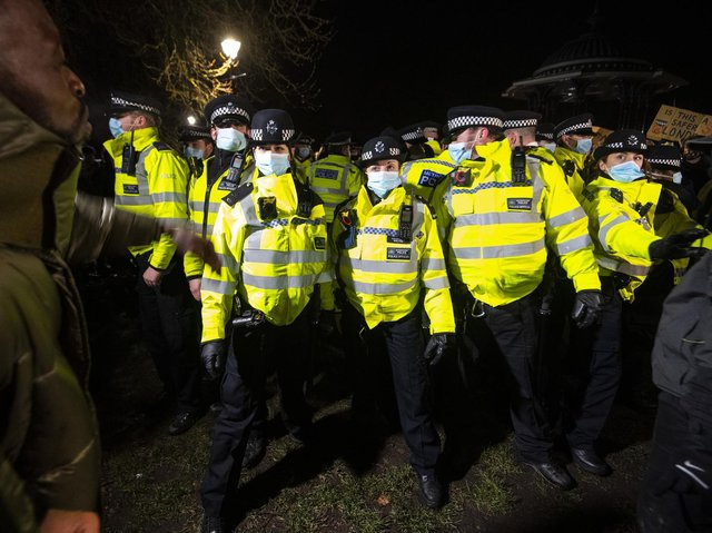 """Metropolitan Police officers """"did not act inappropriately or in a heavy-handed manner"""" at the vigil held in memory of Sarah Everard on Clapham Common, a previous review by the Chief Inspector of Constabulary Sir Thomas Winsor has said"""