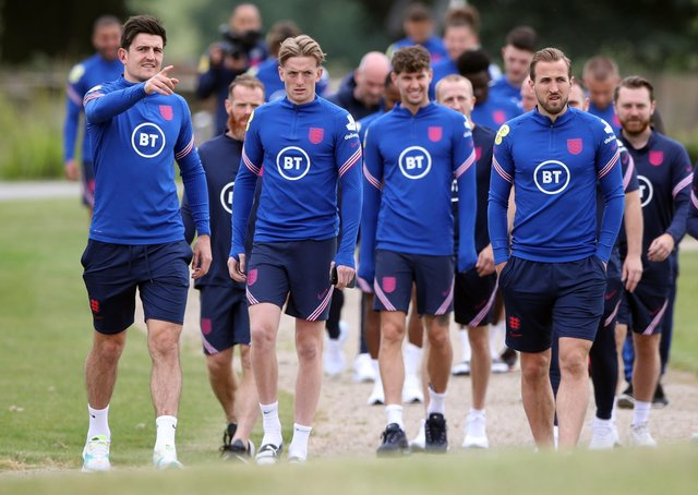 England's Harry McGuire, Jordan Pickford, John Stones and Harry Kane during a training session at St George's Park on Wednesday. Pictures: PA