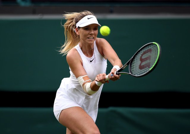 Katie Boulter in action during her second round ladies' singles match against Aryna Sabalenka on centre court.