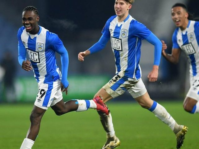 Huddersfield Town's Aaron Rowe, pictured after scoring his first senior Terriers goal in the FA Cup tie with Plymouth in January. Picture: Jonathan Gawthorpe.