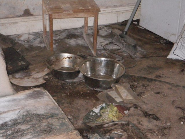 The basement of a property on Calder Road, Dewsbury, where Steven Hartley left his pet rottweiler to starve to death after he moved out