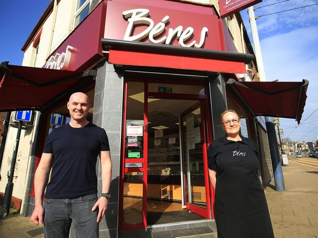 Richard Béres outside one of his pork shops, in Hillsborough, with Ethel who retired earlier this year after 36 years working for the business