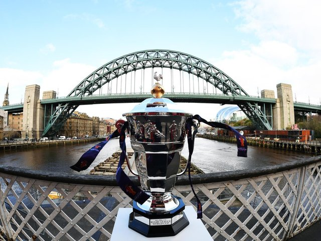 The Rugby League World Cup trophy in Newcastle where the tournament is due to kick-off in October. (Simon Wilkinson/SWpix.com)