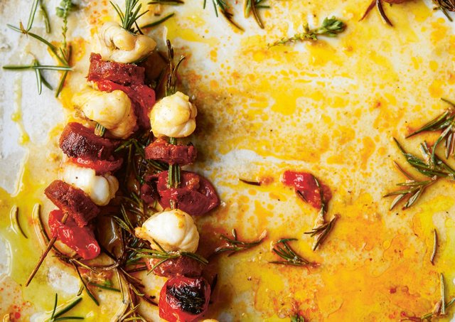 Monkfish, cornish chorizo and sun blush tomatoes on rosemary skewers from SEA & SHORE: Recipes and stories from a kitchen in Cornwall by Emily Scott  Picture: Kim Lightbody
