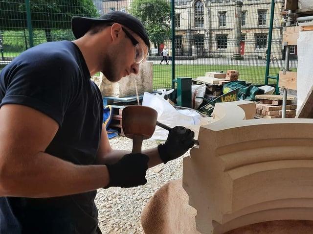 James Digger, 22, is an apprentice stonemason at York Minster