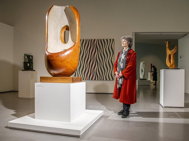 Sophie Bowness, Granddaughter of Barbara Hepworth looks at one of her favourite sculptures, Curved Form, at The Hepworth in Wakefield. Picture: Tony Johnson