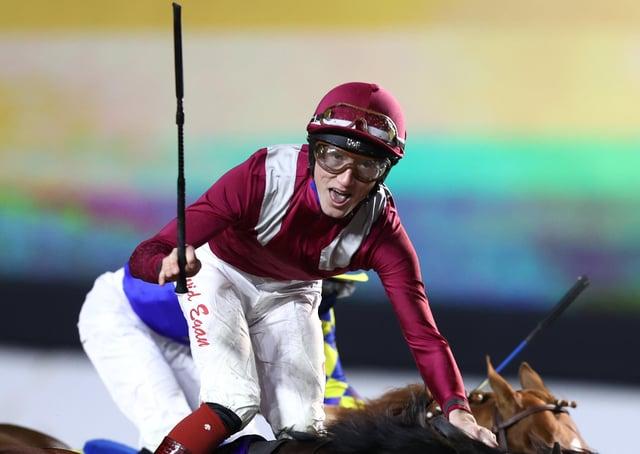 David Egan riding Mishriff wins The Saudi Cup at King Abdulaziz Racecourse on February 20, 2021 in Riyadh, Saudi Arabia.