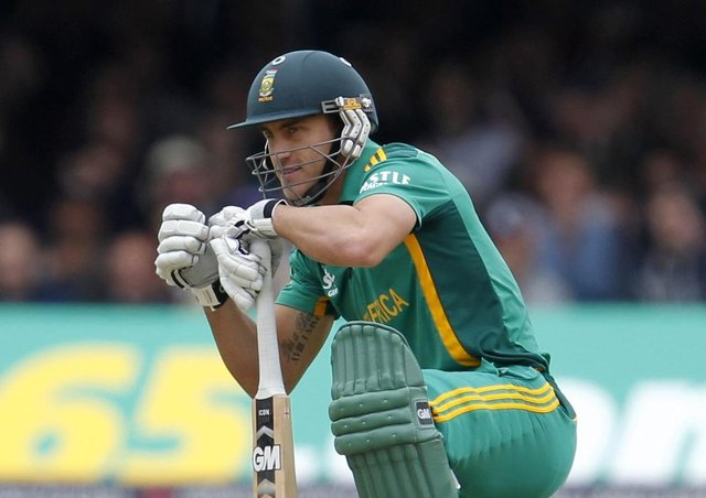 In charge: South Africa's Faf Du Plessis.