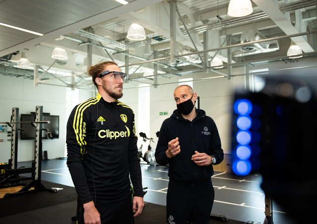 Going through their paces: Leeds United defender Luke Ayling takes part in pre-season testing at Leeds Beckett University's Carnegie School of Sport. Picture: LUFC