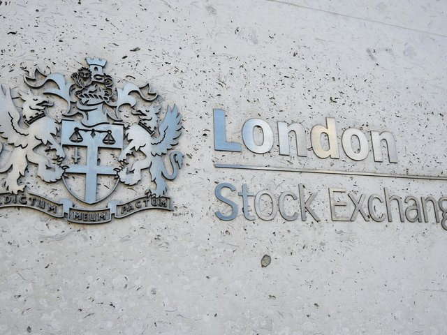 Library image of a view of the London Stock Exchange sign in the City of London.