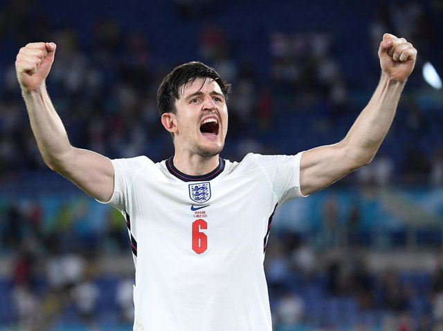 HARRY MAGUIRE: Scored England's second goal of the game against Ukraine. Picture: Getty Images.