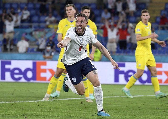 England remembered how to score from set-pieces again in their thrashing of Ukraine in the quarter-finals of the European Championships. There was even a goal for Jordan Henderson, top; one for Harry Maguire, left, and two for Harry Kane who manager Gareth Southgate will be relieved to see has rediscovered his scoring touch. (AP Photo/Ettore Ferrari, Pool)
