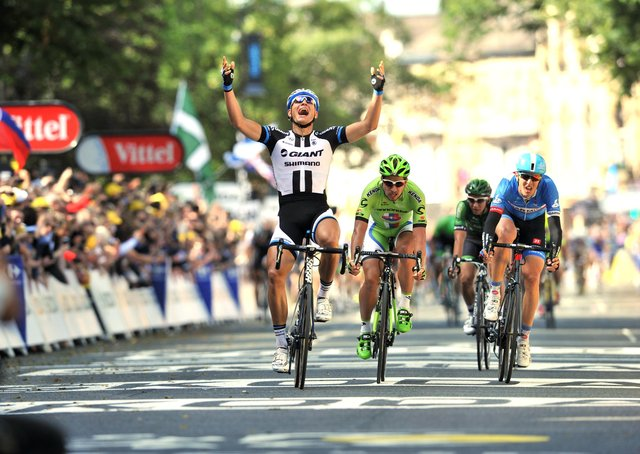 Marcel Kittell wins the first stage of the 2014 Tour de France in Harrogate from Peter Sagan after Mark Cavendish crashed at the bottom of Parliament Street. (Picture: Bruce Rollinson)