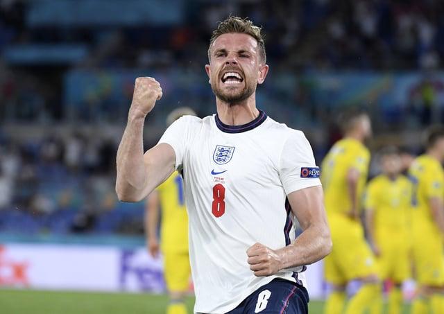 England's Jordan Henderson celebrates after scoring his side's fourth goal. (AP Photo/Ettore Ferrari, Pool)