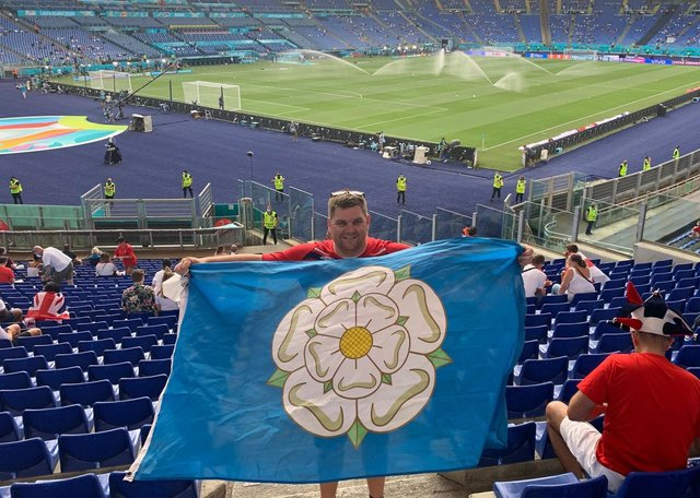 Yorkshireman on tour: Former Yorkshire Post sports writer  Ed White proudly displays his colours in the Stadio Olimpico.