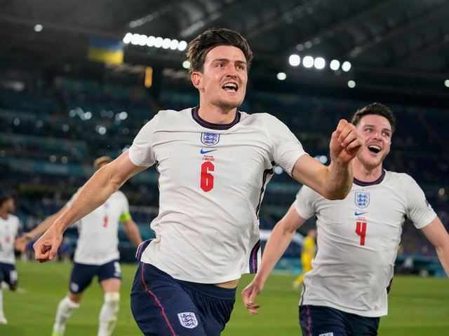 GOALSCORER: Harry Maguire scored England's second goal of the night against Ukraine. Picture: Getty Images.