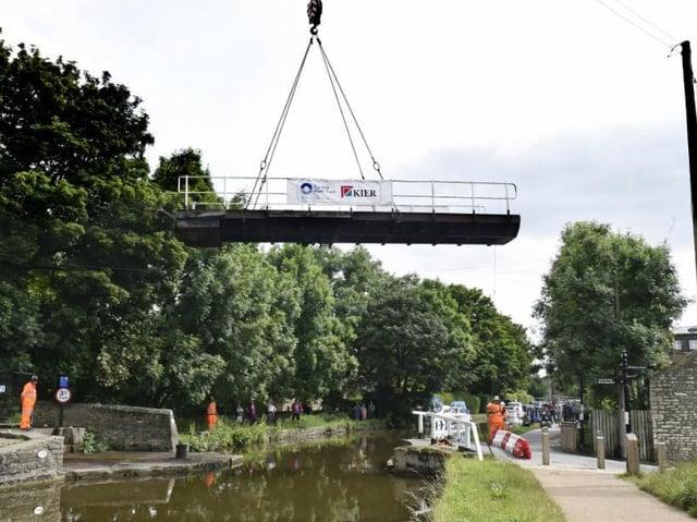 Gawflat Swing Bridge in Skipton was removed on Sunday morning