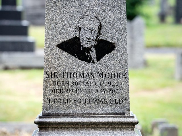 The family grave of Captain Sir Tom Moore at Morton Cemetery, Riddlesden, Keighley, where his ashes were buried on Monday. Picture: Danny Lawson