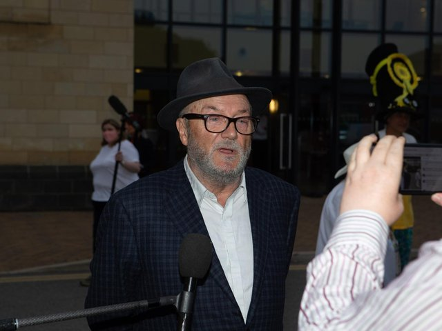 George Galloway speaking to the media after the Batley and Spen by-election result was announced in the early hours of Friday morning