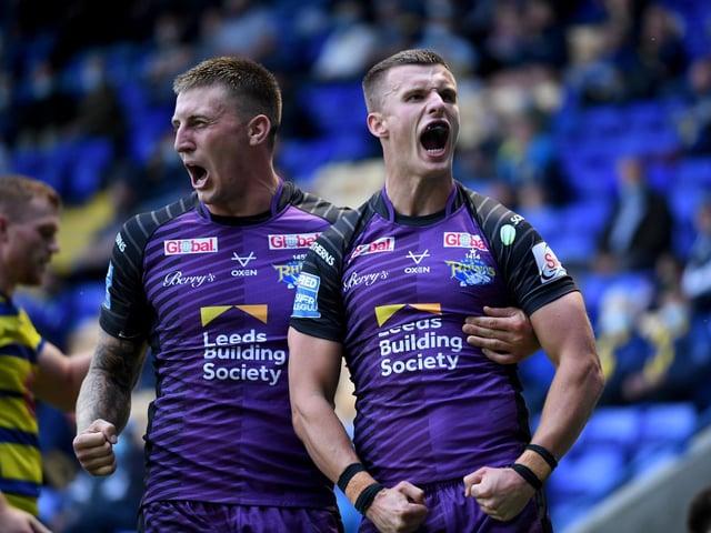 Leeds Rhinos' Ash Handley celebrates his try with Alex Mellor (SIMON HULME)