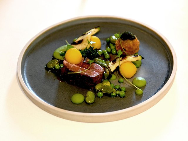 Yorkshire Lamb, Yorkshire Asparagus, Pea Puree, Pomme Anna Potatoes  from the Tasting Menu at The  General Tarleton  at Ferrensby near Knaresborough. Picture: Gary Longbottom.