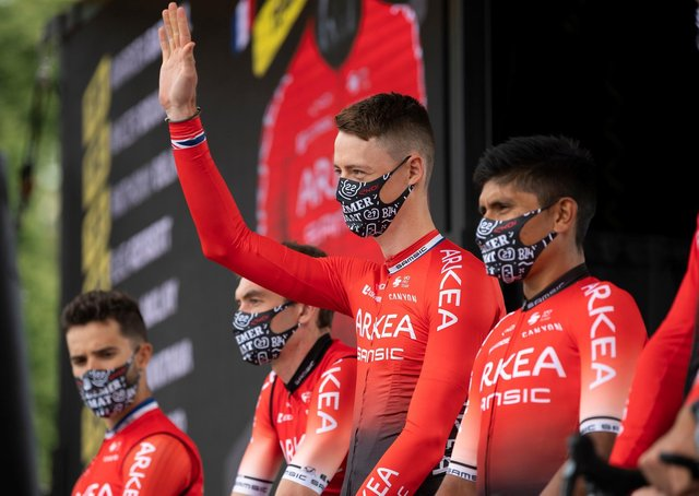Team player: Connor Swift, centre, is introduced with his Arkea-Samsic team at the 2021 Tour de France. (Picture: Alex Broadway/SWPix.com)