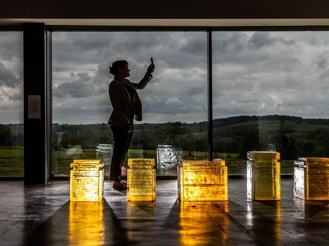 Breaking the Mould: Sculpture By Women Since 1945 in the Longside Gallery situated in Yorkshire Sculpture Park.  Natalie Rudd, Senior Curator for the Arts Council Collections, looking at work by Rachel Whiteread. Picture: James Hardisty.