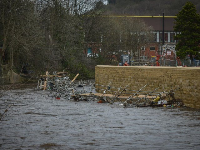 Flooding in Mytholmroyd (Pic credit: SWNS)