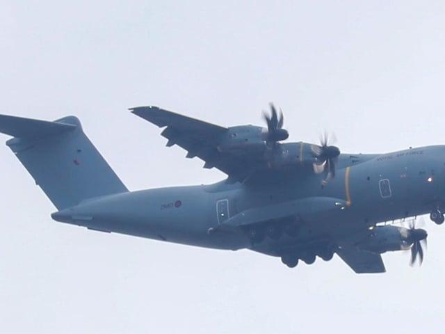The plane is an RAF Airbus A400M Atlas military transport aircraft. cc Brad Caslin