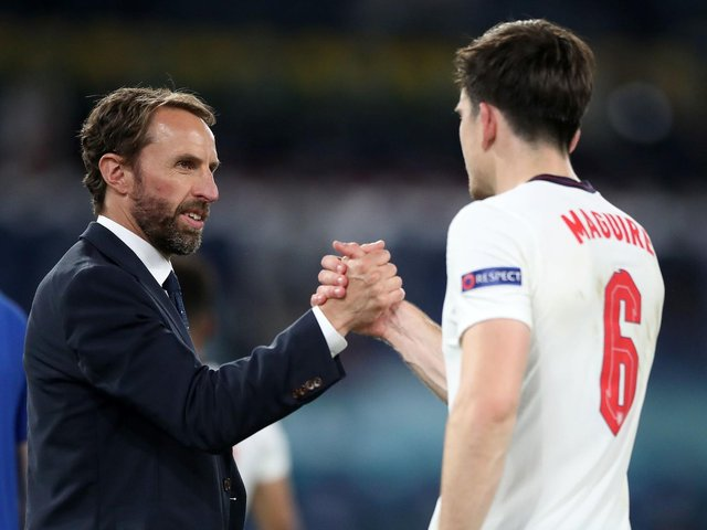 England manager Gareth Southgate shakes hands with Harry Maguire after the UEFA Euro 2020 Quarter Final match at the Stadio Olimpico, Rome. Picture: Nick Potts/PA Wire.