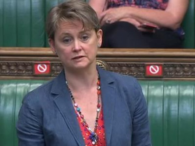 Yvette Cooper, MP for Normanton, Pontefract and Castleford, speaks during the debate on the Police, Crime, Sentencing and Courts Bill