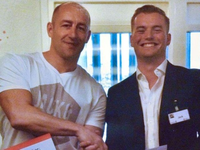 Steve Gallant (left) with Jack Merritt (right), who died in the London Bridge attack) pictured at the end of a Learning Together training course in April 2018.