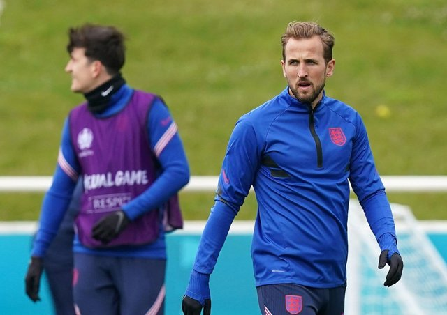 England's Harry Kane during a training session at St George's Park. Picture: PA
