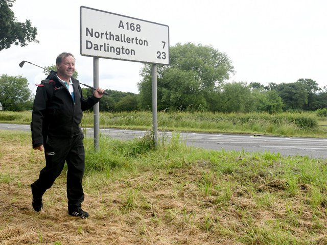 David Sullivan, 58, is golfing all the way from John O'Groats to Lands End to raise cash for more defibrillators, and is this week passing through Yorkshire