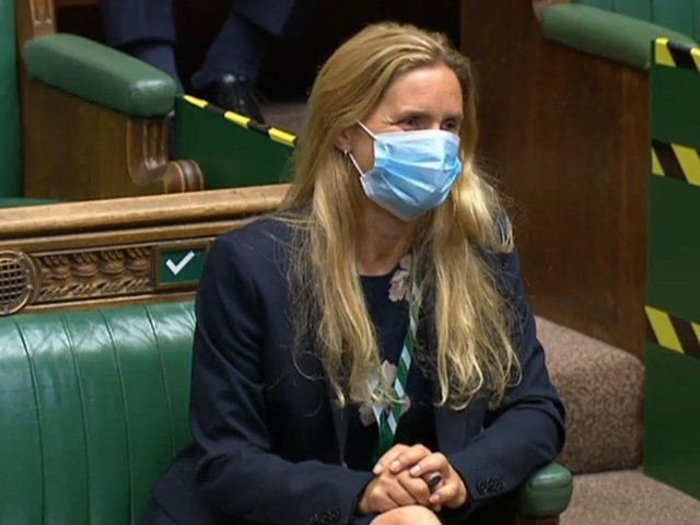 The new Batley and Spen MP Kim Leadbeater sitting in the seat previously used by her sister, the murdered MP Jo Cox, during Prime Minister's Questions in the House of Commons, London (House of Commons/PA)