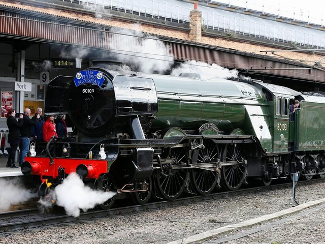The Flying Scotsman arrives at York station after its inaugural run from London after a decade-long, £4.2 million refit in 2016. Picture: Owen Humphreys/PA Wire.