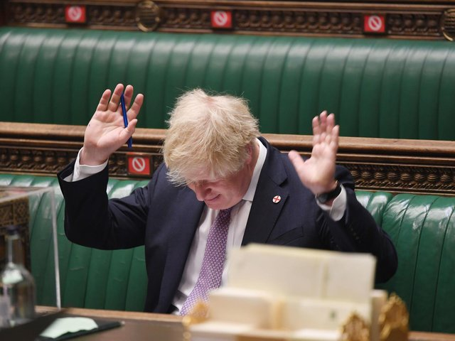 Boris Johnson during Prime Minister's Questions in the House of Commons, London. Picture: UK Parliament/Jessica Taylor /PA Wire