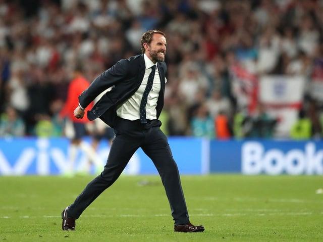 CALM: Gareth Southgate celebrates England's victory