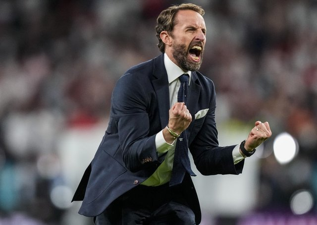 Victory roar: England's manager Gareth Southgate celebrates the win over Denmark. (AP Photo/Frank Augstein, Pool)