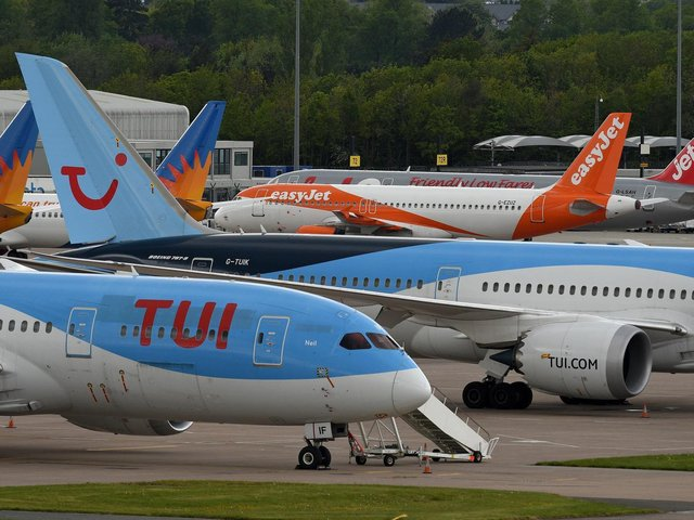 Aircraft on the apron at Manchester Airport in Manchester. Picture: Oli Scarff/AFP