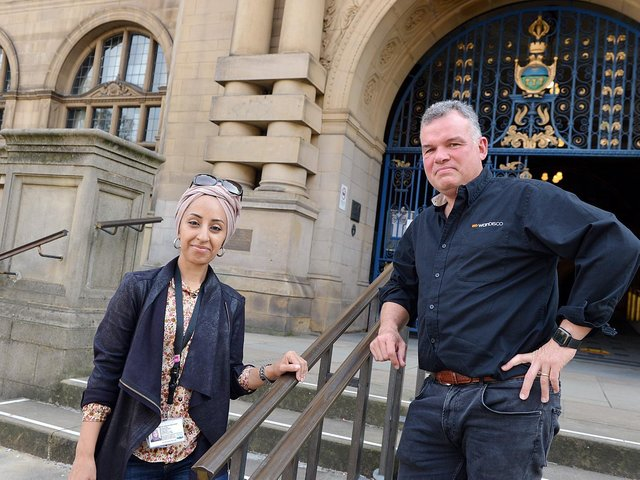 David Richards with Councillor Abtisam Mohamed as the Laptop for Kids campaign was launched in Sheffield last September. Picture: Brian Eyre