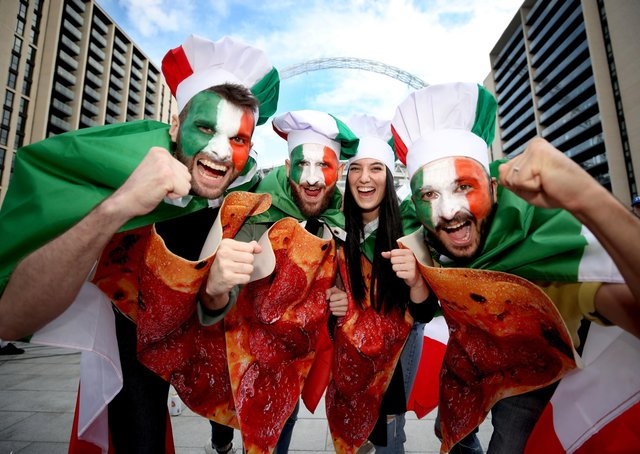 Home from home: Italian fans on Wembley Way before their second-round match with Austria. (Picture: PA)