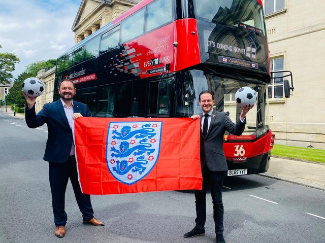 The Harrogate Bus Company's CEO Alex Hornby (left) with Welcome to Yorkshire's CEO James Mason and the 36 bus freshly named in honour of local resident and England manager Gareth Southgate.