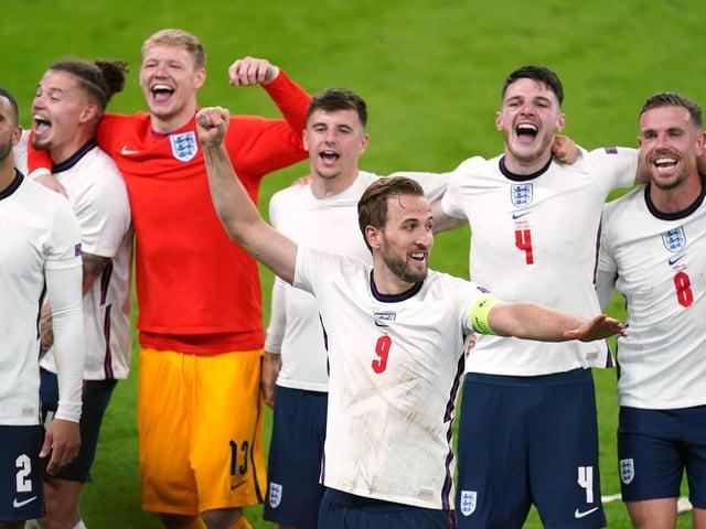 England's Harry Kane and team-mates celebrate winning the UEFA Euro 2020 semi final match at Wembley Stadium, London (Mike Egerton/PA)